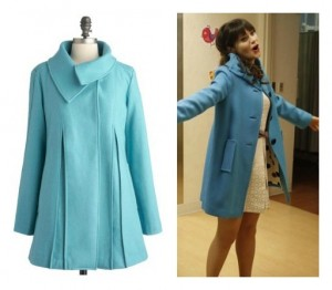 Zooey Deschanel in Blue Coat