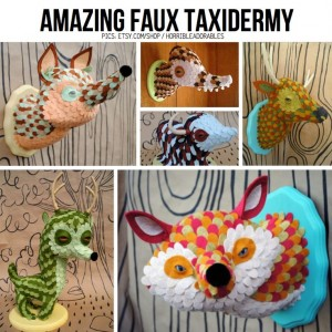 Animal-friendly taxidermy in various forms, haha! This is actually a great place to find alternatives to just traditional paper mache techniques. I love the one that uses small layering of paper for a fur / feather effect - great for a texture lesson!!