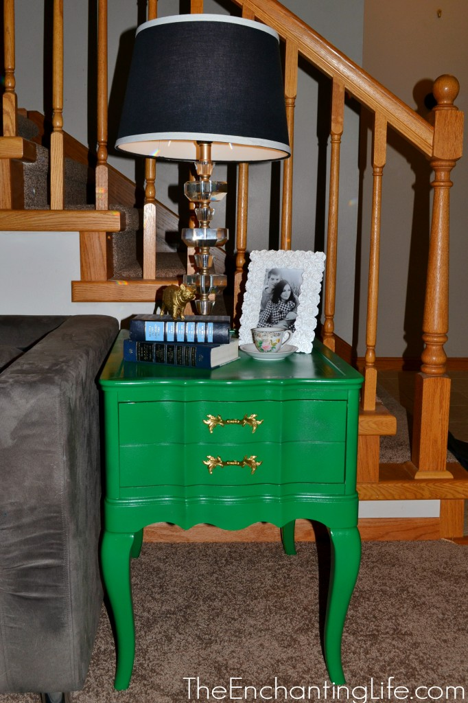after pic of green side table