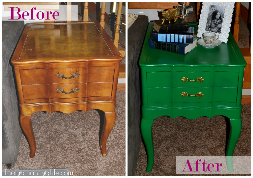 before and after green side table