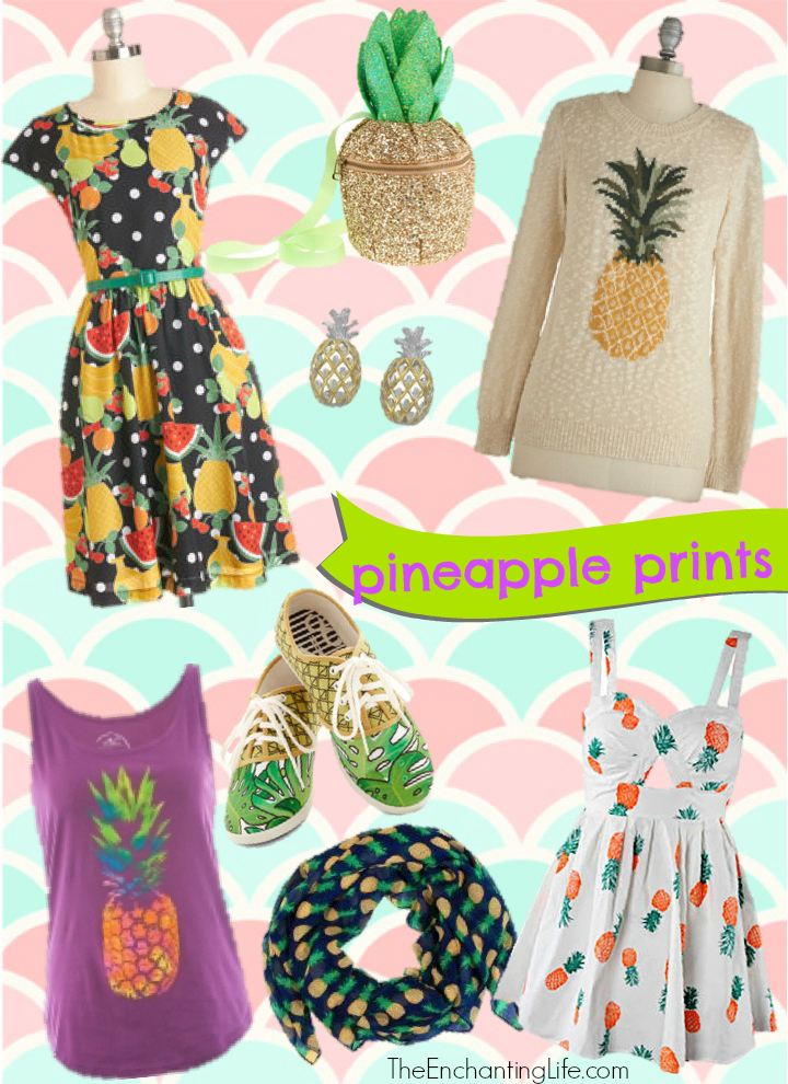 Pineapple Accessories fashion trend: pineapple prints on clothing and accessories