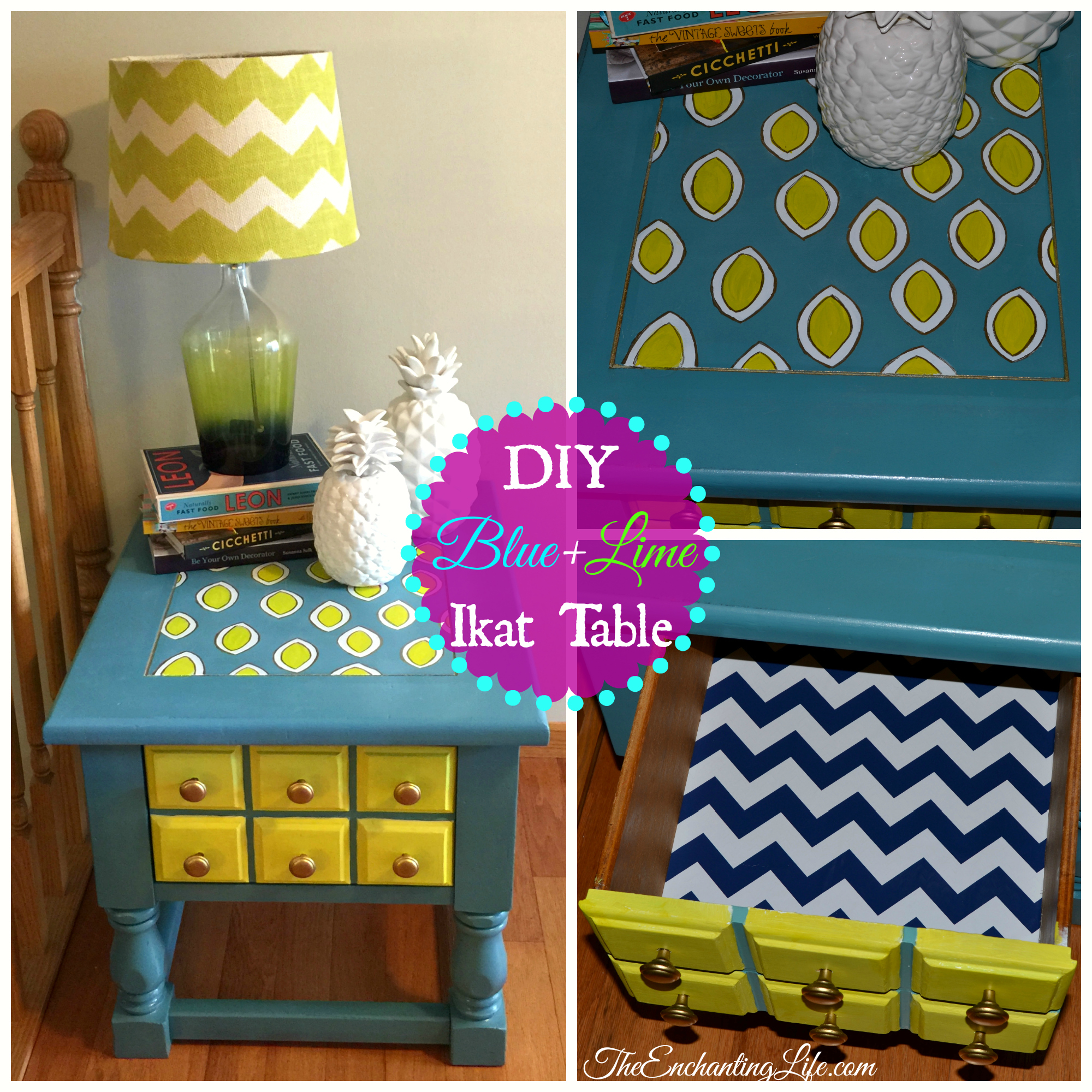 DIY Blue and Lime Ikat Side Table