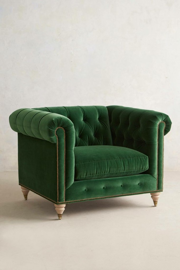 Emerald Green Chesterfield chair from Anthropologie