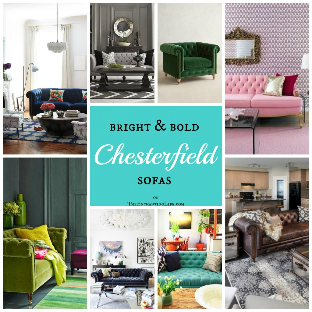 Colorful or Neutral Chesterfield Sofas in designer living rooms