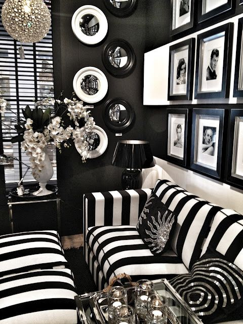 63a4db3d311 sofa chair. 2. Window Treatments. Look how in both pictures the black   white  stripe ...