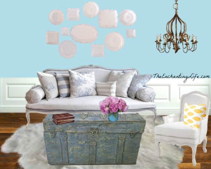 Shabby chic living room the enchanting life the for Grey shabby chic living room ideas